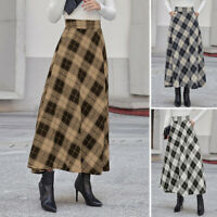 Women High Waist Check Plaid Tartan Skirts Party Swing Flared Long Maxi Dress US