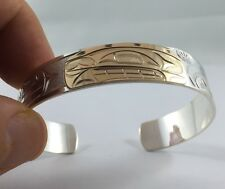 Northwest Coast First Nations Jewellery- 14k & Sterling Silver ORCA Bracelet
