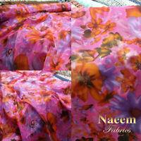 New*top quality beautifull lilac chiffon soft floaty white dots print 58/'/'width