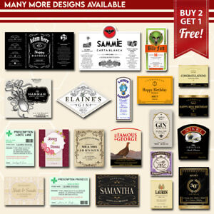Personalised Bottle Label Custom Sticker Gift Present Many Designs For Occasions