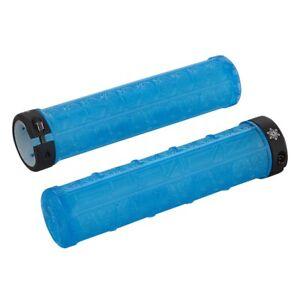 SupaCaz Grizips Clear Neon Blue Handlebar Grips - Lock On - Lightweight XC MTB