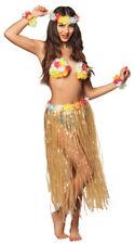 Ladies Hawaiian Costume Set Long Grass Skirt Lei Flower Bra Headband Bracelets