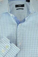 Hugo Boss Men's Blue & White Geometric Cotton Dress Shirt 15.5 x 36