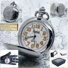 "DAKOTA Silver Pocket Watch Quartz Men Luminous Hands with 14"" Link Chain  P189"