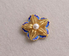 I05 Pendant Style C Filigree Bloom Silver 925 Gold Plated Blue Cloisonne Pearl
