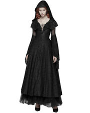 Punk Rave Gothic Hooded Cloak Dress Long Black Lace Steampunk Witch Occult