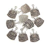 10pcs Cake HAPPY BIRTHDAY Word Bead Charms Tibetan Silver Pendant Fit DIY Gift