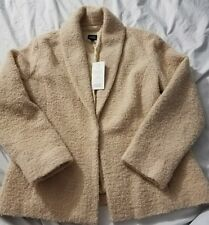 New with Tags EILEEN FISHER Wheat Shawl Collar Coat Jacket, Size L Wool Nylon