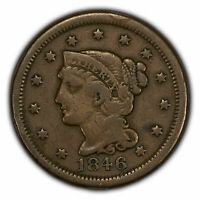 1846 1c Braided Hair Large Cent - Mid-Grade Coin - SKU-Y2754