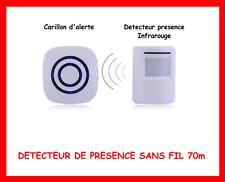 DETECTEUR MOUVEMENT RECEPTEUR CARILLON LED SANS FIL 70M SECURITE MAISON ALARME
