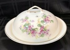 Victoria China Czech-slovakia Covered Butter Dish w/Strainer Violets Gold Trim