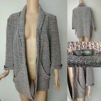 GEORGE Women Tweed Casual Cotton Jacket Blazer Size 16 Pockets & 3/4 Sleeve