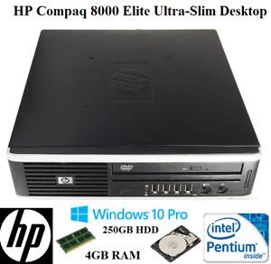HP Pro 8000 Elite Ultra-Slim Desktop 250GB HDD 4GB RAM Windows 10 Pro Desktop PC