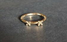 .9ct 9k Yellow Gold 2 Flower Stackable Ring Dainty Size P 1/2 NEW !!