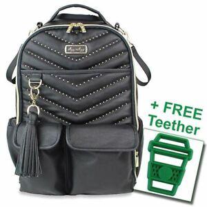 Itzy Ritzy® Boss Diaper Bag Backpack Rock & Roll FREE Latte Teether