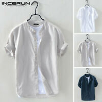INCERUN Mens Solid Linen T-shirt Short Sleeve Retro Top Chinese Style Shirts UK