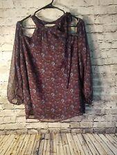NWT Loft Womens Cold Shoulder Bow Shirt Large XL XXL Blue Plus Size t13