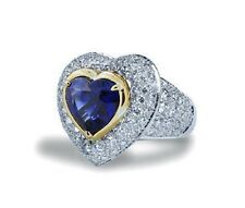 UNHEATED Blue Sapphire Heart (GIA) Ring with Diamonds 6.71TCW Platinum/18KYG