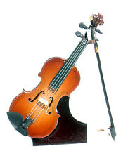 "Violin replica handmade collectible miniature 5.5"" w/stand, bow & case (1072)"