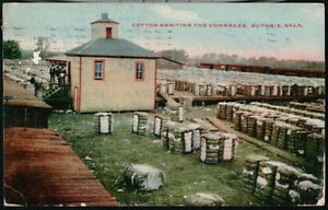 GUTHRIE OK Cotton Awaiting Compress Antique 1909 Postcard Early Old Oklahoma PC