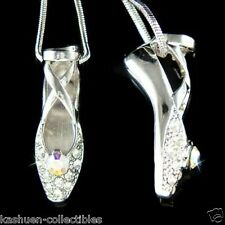 w Swarovski Crystal BALLERINA Ballet Dancer Shoes Slippers Pendant Necklace Xmas