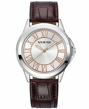 Unlisted by Kenneth Cole Mens Brown Leather Band Silver Dial Casual Watch UL1295