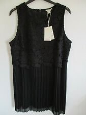 MONSOON LADIES BLACK FLORAL LACE SLEEVELESS PLEATED DRESS UK 18 NEW WITH TAGS