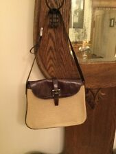 Joan And David Brown Croc Embossed Leather Tan Canvas HandBag PURSE