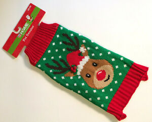Christmas Pet Home For The Holidays Sweater Size Medium Green - Warm - New
