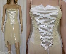 Ladies Mock Corset Asymmetrical Party Dress Size 12 14 Evening Clubbing