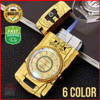 Clock Torch Lighter Butane Cigar Cigarette Windproof Gas Stright Fire Lighters