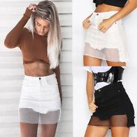 WOMENS Faded Denim Short Jeans Net High Waisted Slim Mini Skirt 6 8 10 12 14