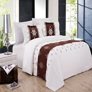 Eleanor Embroidered 3 Piece Duvet Cover Set White & Chocolate with Pillow Shams