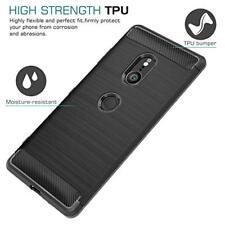 Sony Xperia XZ3 Case Soft Lightweight TPU Bumper Cover Slim Carbon Fiber Black
