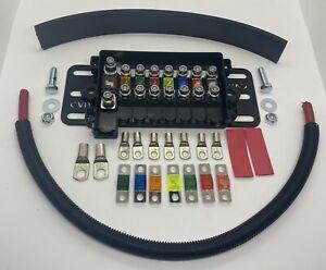 MULTI MIDI FUSE HOLDER FULL KIT & MOUNTING PLATE- FUSES, LUGS, BAT CABLE, TUBING