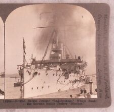 WWI Stereoview card:  British Cruiser HMS Indomitable