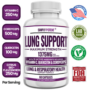 Lung Cleanse & Detox w Vitamin C Quercetin Cordyceps for Respiratory Support