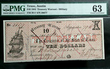 1862 $10 TEN DOLLARS TREASURY WARRANT AUSTIN, TX OBSOLETE NOTEPMG 63  UNC