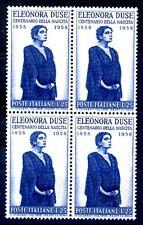 ITALIA 1958 - ELEONORA DUSE  QUARTINA NUOVA **