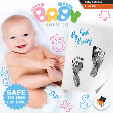 INKLESS WIPE HAND & FOOT PRINT KIT BABY & NEWBORN SAFE NEW GIRL GREAT GIFT