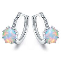 Women 925 Silver Fire Opal Hoop Ear Studs Earrings Fashion Wedding Party Jewelry