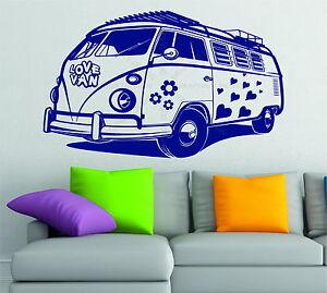 Volkswagen Camper Love Van Hearts Flower VW Wall Art Stickers Decal Vinyl Hippie