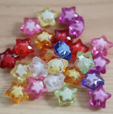 5 PERLE in acrilico a forma di stelle 20MM TRASPARENTI LUMINOSE star SFACCETTATE
