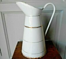 "Vintage french Enamelware WHITE & gold  BODY PITCHER  15"" H"