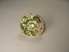 Stunning Estate 14K Yellow Gold Peridot Diamond Swirl Cocktail Round Ring Band
