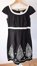 Oasis black 100% linen dress w white embroidered cut out hem UK 8 Lined Summer