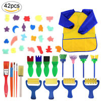 42pcs Kids Painting Kit Sponge Brushes Drawing Paint Tools With Waterproof Apron