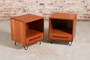 Vintage Mid Century G-plan Fresco teak bedside tables/cabinets, circa 1960s
