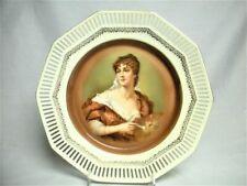 "10"" Antique Schumann Germany Porcelain Artist Portrait Plate Mint #2 Reticulated"