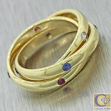 Vintage 18k Solid Yellow Gold .40ctw Diamond Sapphire Ruby Rolling Band Ring